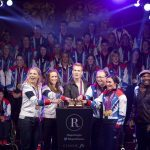 L-R Gold medalists Anna Watkins, Helen Glover, Greg Rutherford,Barney Story and Sarah Storey with Noah Stewart