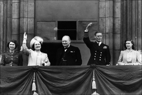 The King, Queen, Princess Elizabeth and Churchill Appear on the Buckingham Palace Balcony.