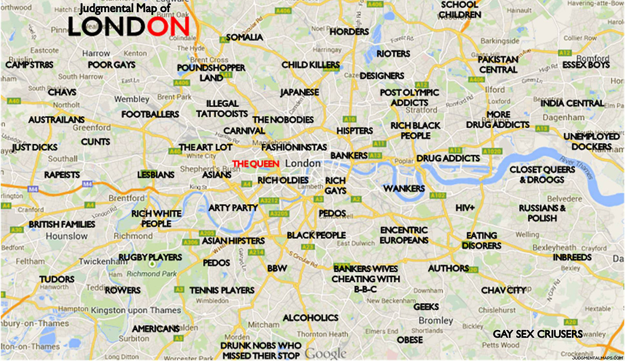 Map Of England Joke.Humor The Judgemental Map Of London A Funny Map Of London