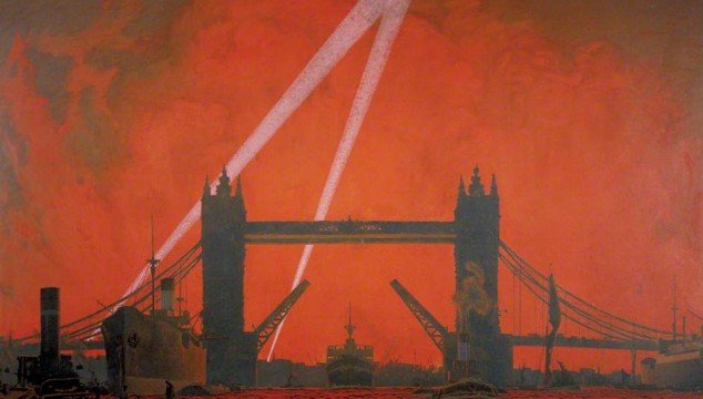 Great London Art: The Pool of London During the Docklands Air Raids by Charles Pears