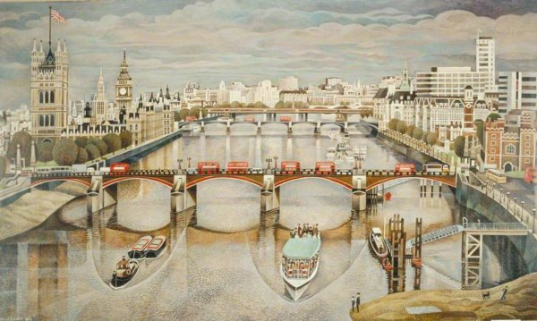 Great London Art: Lambeth Palace and the House of Commons by Alfred Daniels
