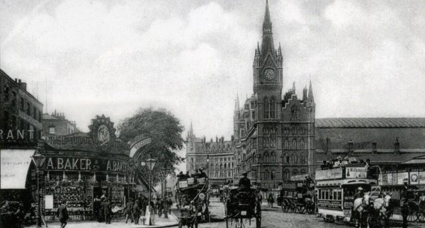 Photo: Stunning View of Euston Road and King's Cross and St Pancras Railway Stations in 1904