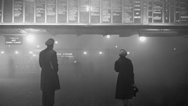 London Photo: Moody and Atmospheric Picture of Liverpool St Station in 1959- The Great London Smog