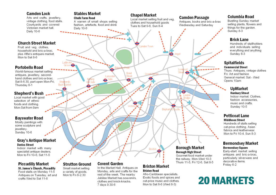 Printable London Street Map.Street Markets Of London Handy Printable Map Guides You To London S