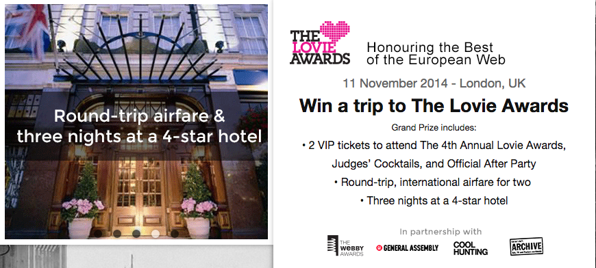 London Alert: Win a Trip to London to Attend the Lovie Awards – Open to USA, Canada and EU!