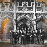 Members of British Parliament singing Christmas carols in St. Margaret's Westminster via BBC Radio to American congressmen on December 1945