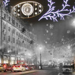 Christmas decorations consisting mainly of snow crystal stars made of aluminium to give the effect of a snowstorm are displayed on Regent Street on November 30, 1955