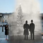 Two policemen regard London's 64ft Christmas tree, a gift from Norway, illuminated in Trafalgar Square in front of the National Gallery on December 1, 1948