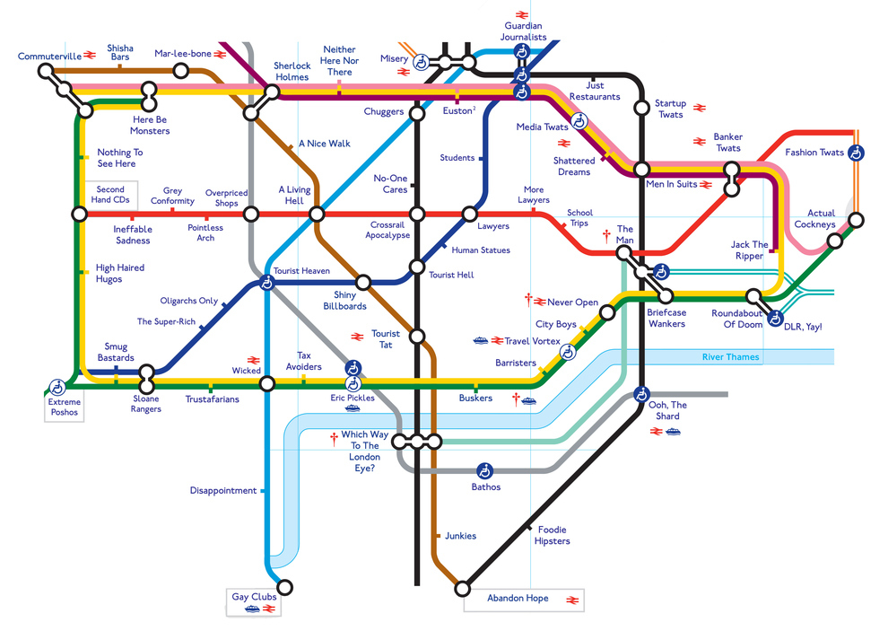 London Humour The Honest Tube Map Londontopia