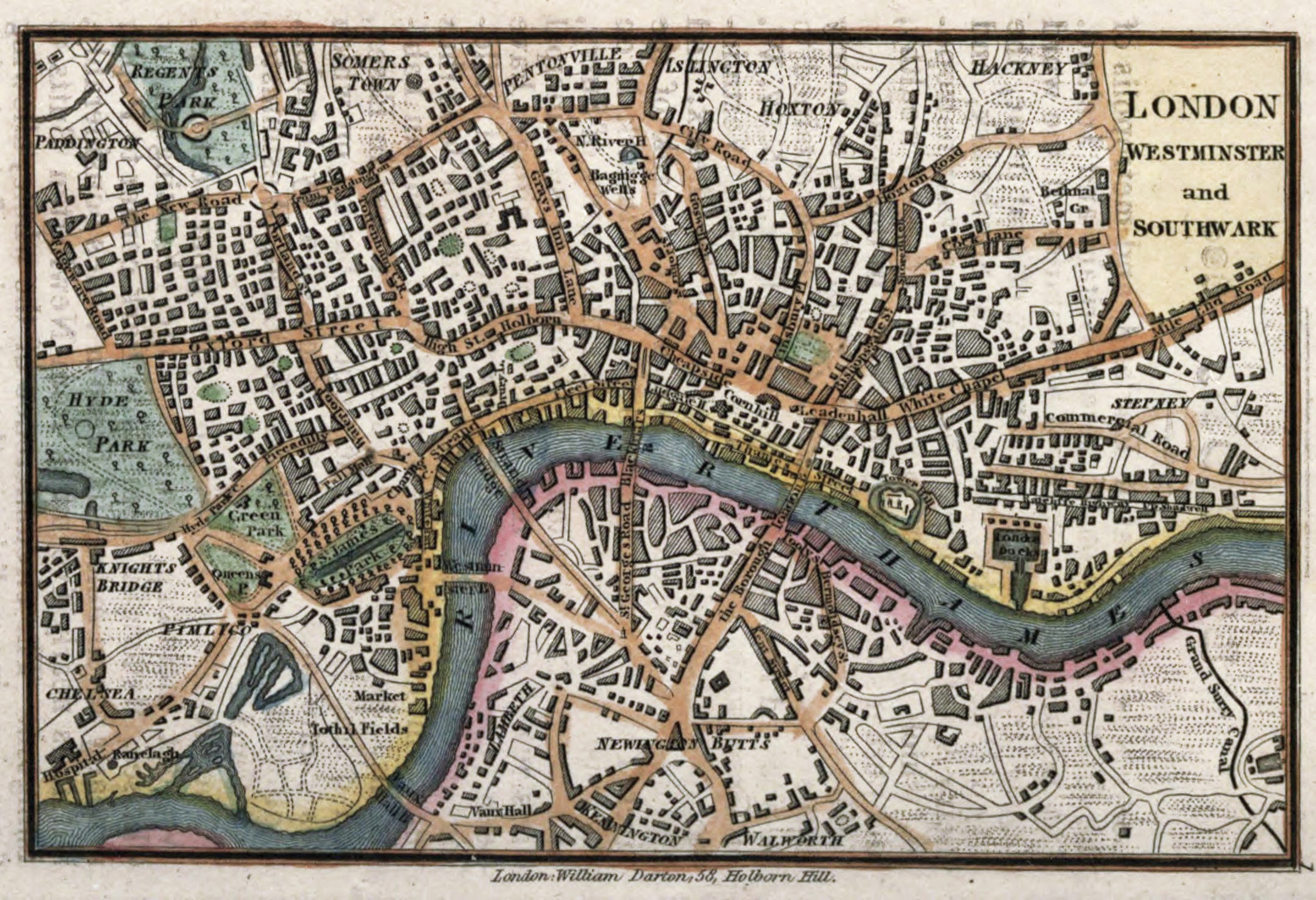 map of london england circa 1820 by