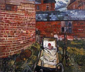 Baby in pram in garden' by John Bratby