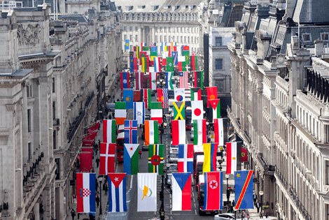 World Flags displayed along London's historic Regent's Street