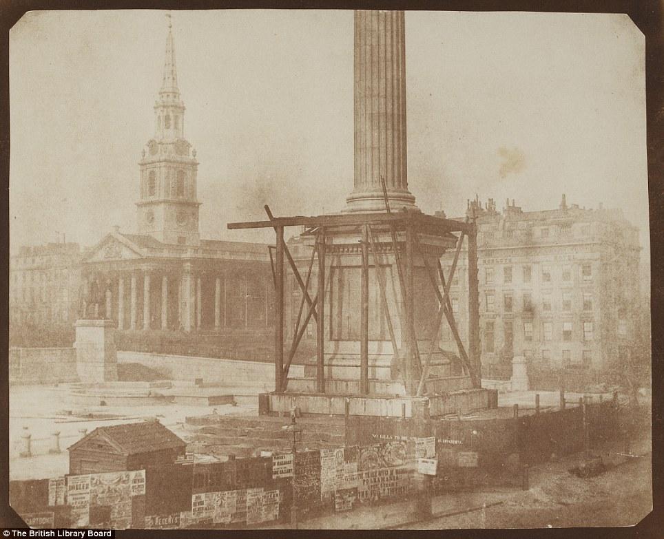 Photo: Nelson's Column under Construction, Trafalgar Square, April 1844