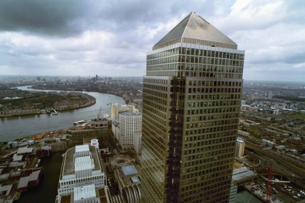 Canary Wharf tower in London's Docklands in 2001 as seen from one of the new towers under construction.