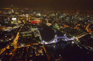 London Photo: Gorgeous Nighttime Aerial Photo of London From Above Perfect For Your Desktop Wallaper