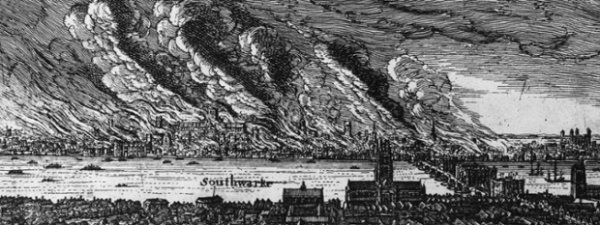 The Great Fire of London as seen from Southwark, 1666