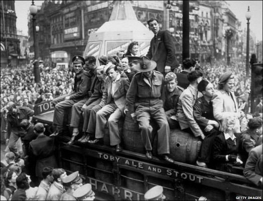Celebrations in Piccadilly Circus.