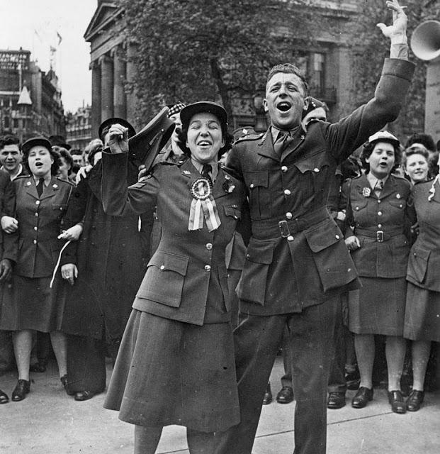 CWAC Celebrating VE-Day London 1945