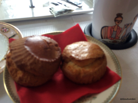 Excuse the blurry photo but it was a bit of a bumpy ride. But you can tell which is the gluten-free scone?