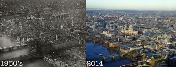 Then and Now: The View from the Shard in the 1930's Versus the View Today #shardview