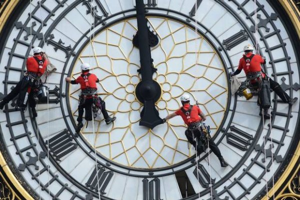 No, You Don't Need to Check Your Eyes – There are Indeed People Hanging off the Big Ben Clock Face as it Gets a Good Cleaning