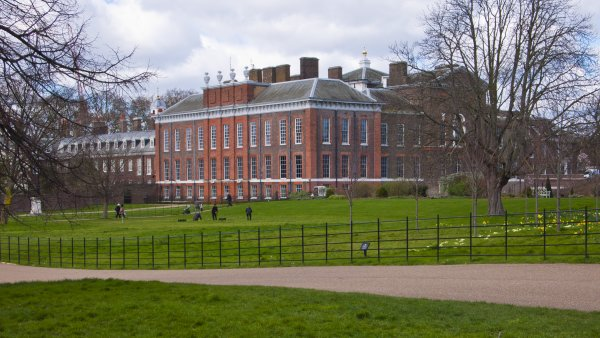 London, United Kingdom - March 31, 2015: Kensington Palace and Gardens. Incidental people.