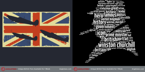 Anglotees Alert: New Designs LIVE – Churchill Tribute and To Victory Spitfire Tribute