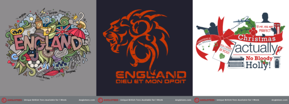 Anglotees Alert: New Designs LIVE – England Dreams, English Lion and Christmas Actually Return