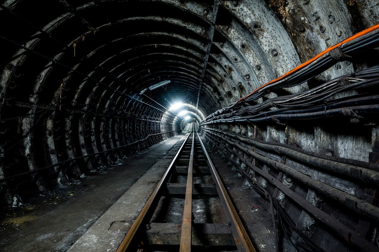 View of Tunnels down Tracks - Mail Rail