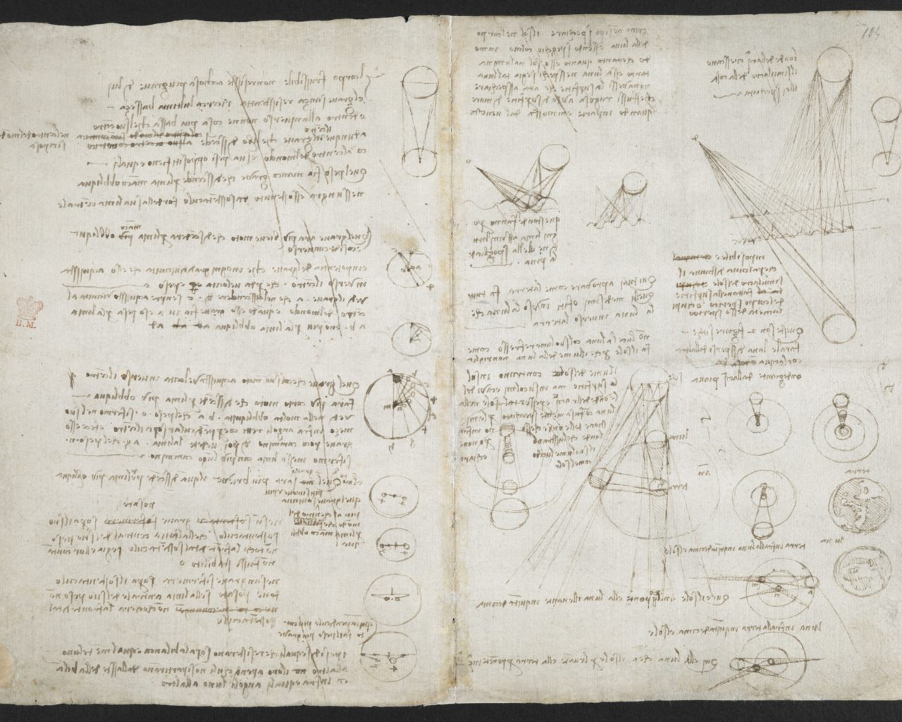 Astronomical notes and sketches, Leonardo Da Vinci's notebook (c) British Library Board
