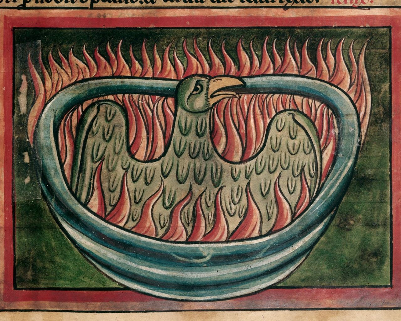 DETAIL - A phoenix rising from the ashes in a 13th-century bestiary (c) British Library