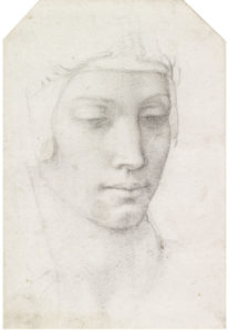 Michelangelo Buonarroti, The head of the Virgin, c.1540
