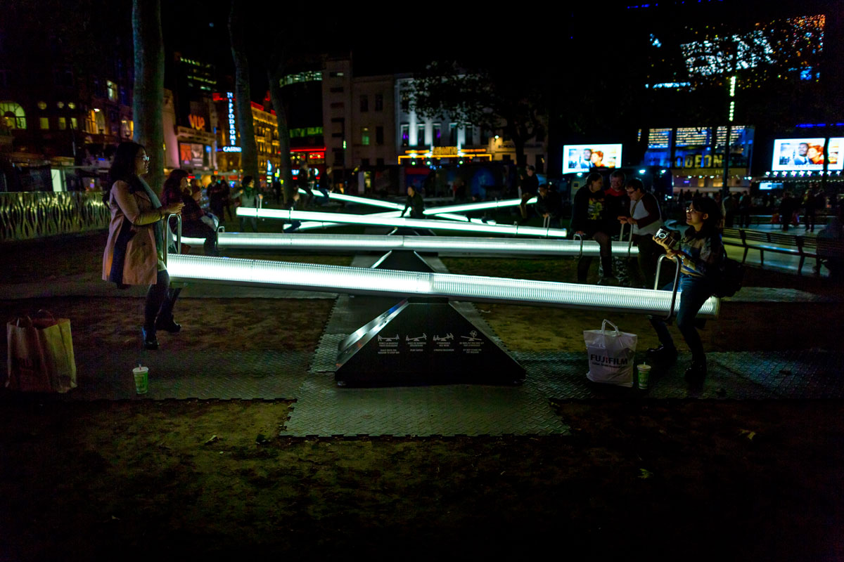 'Impulse' illuminated seesaws were also seen in Leicester Square in October 2016.
