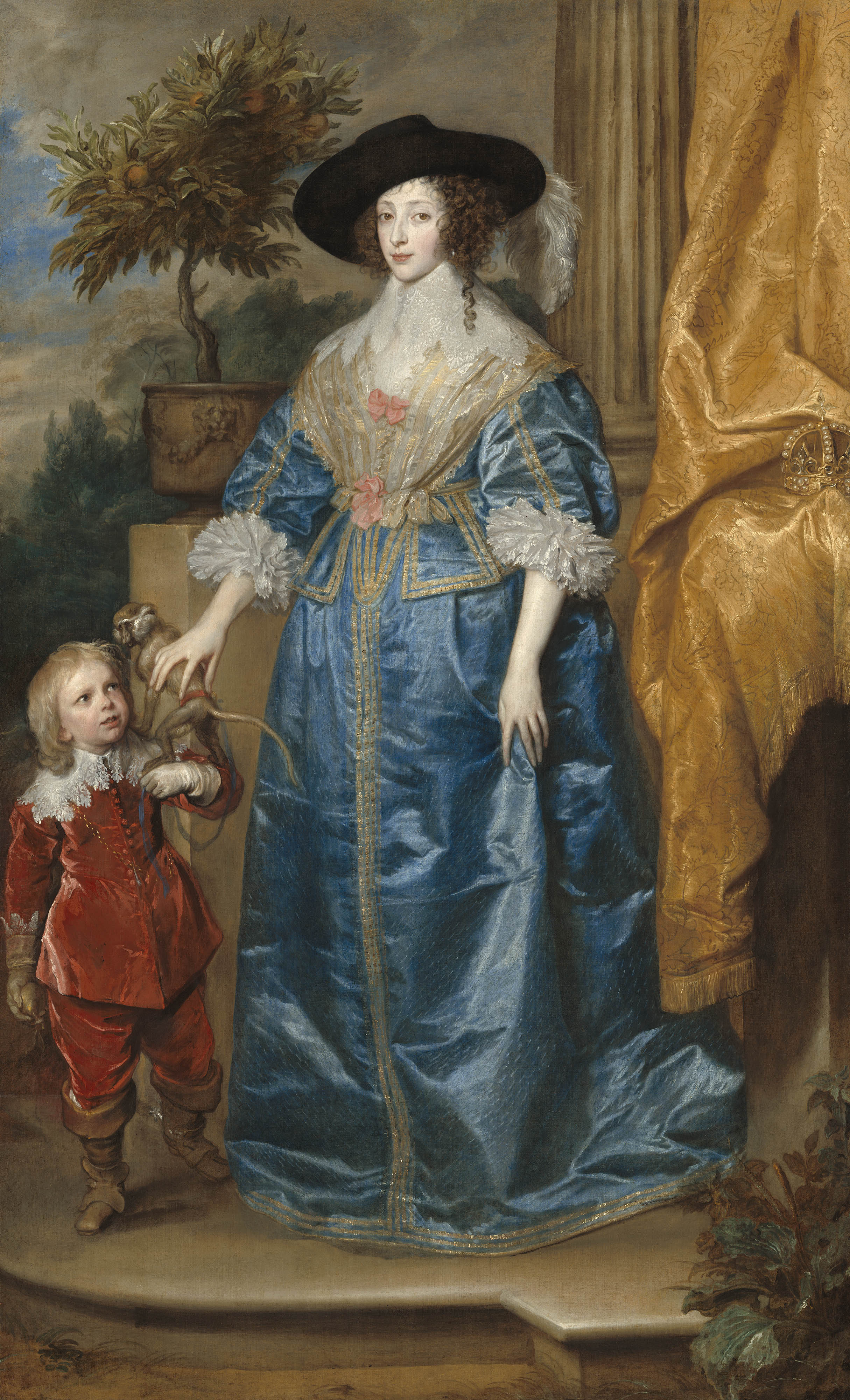Sir Anthony van Dyck (Flemish, 1599 - 1641 ), Queen Henrietta Maria with Sir Jeffrey Hudson