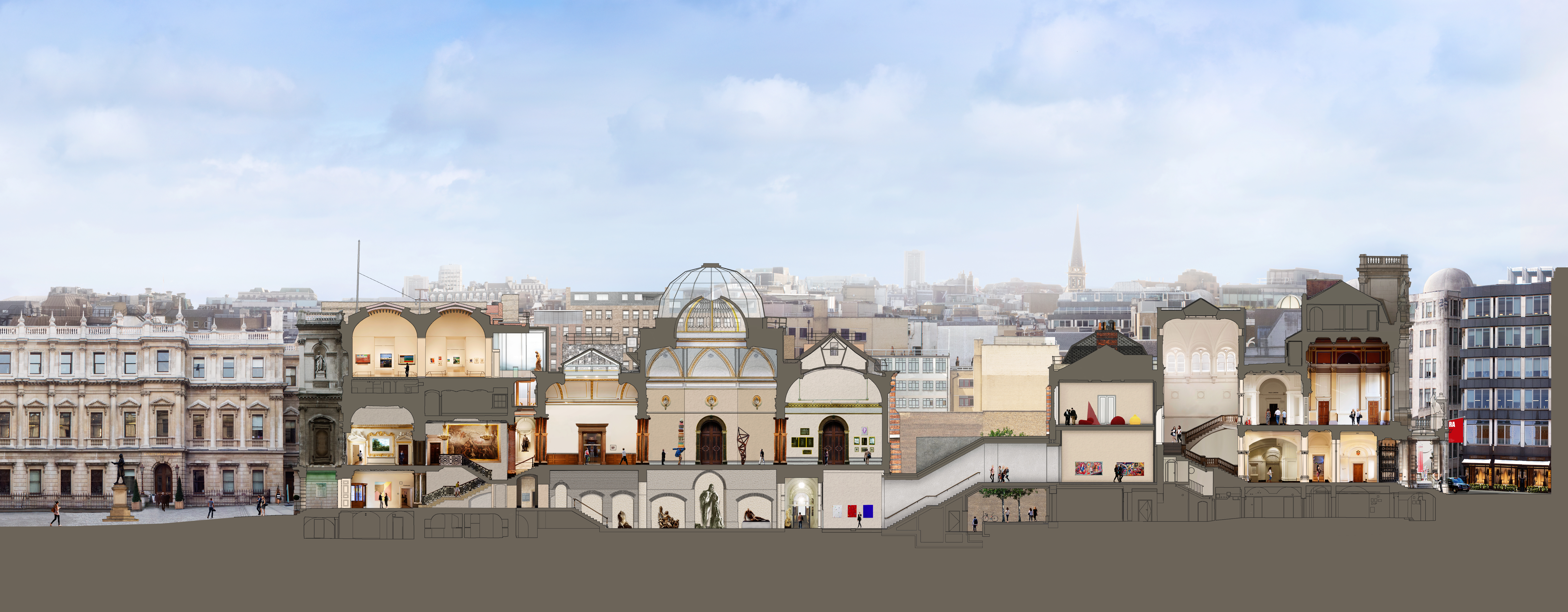 New Royal Academy - Cross-section of the Royal Academy's site in 2018