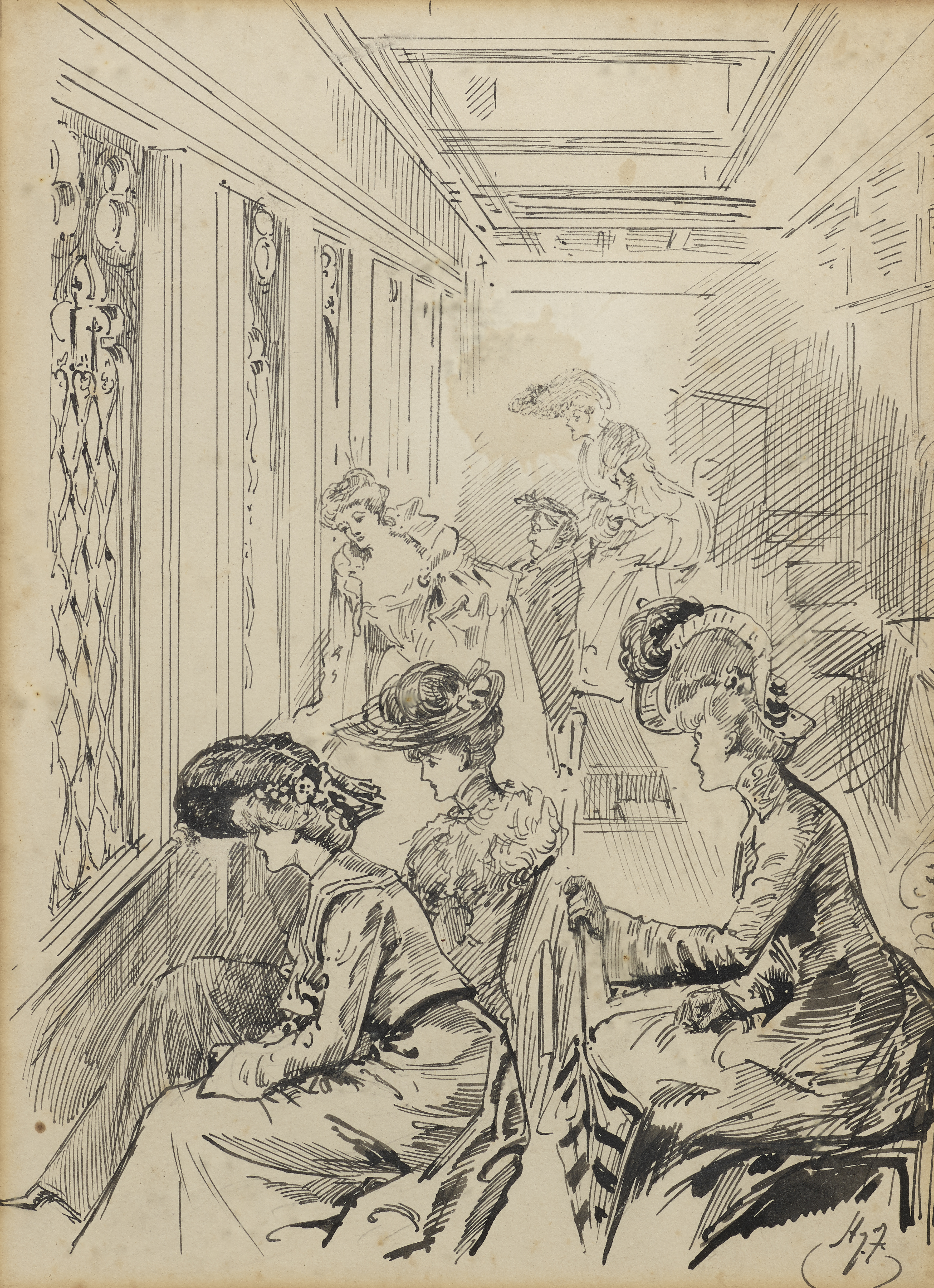 A View of the Ladies' Gallery By Harry Furniss, 1906