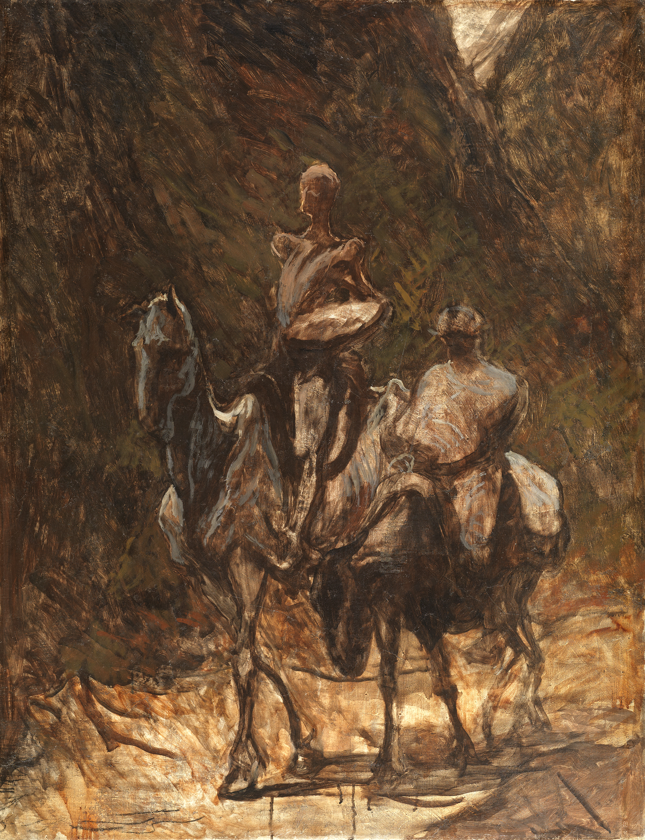 Don Quixote and Sancho Panza - Honoré-Victorin Daumier, 1868-72