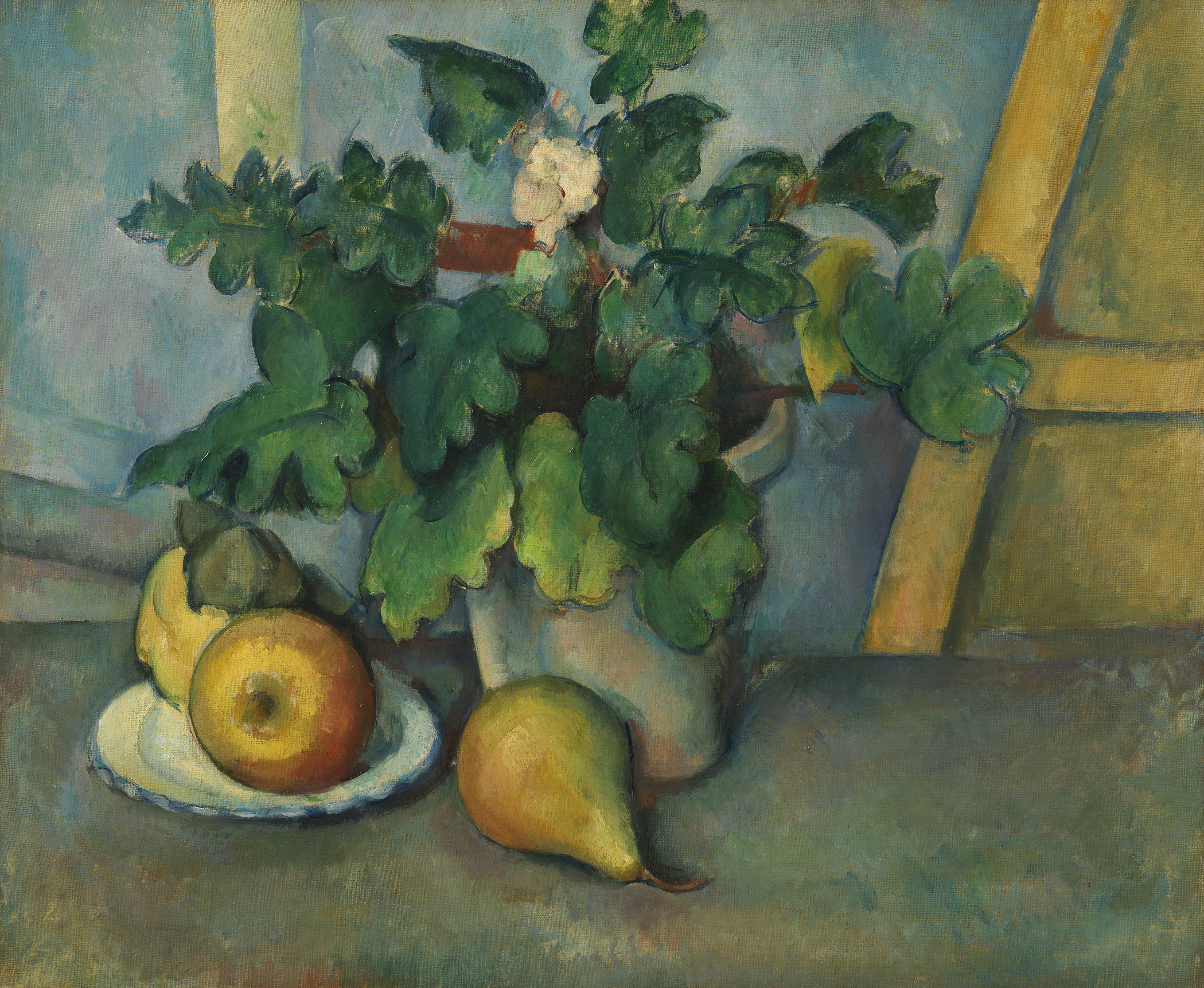 Pot of Primroses and Fruit - Paul Cézanne, c. 1888-90
