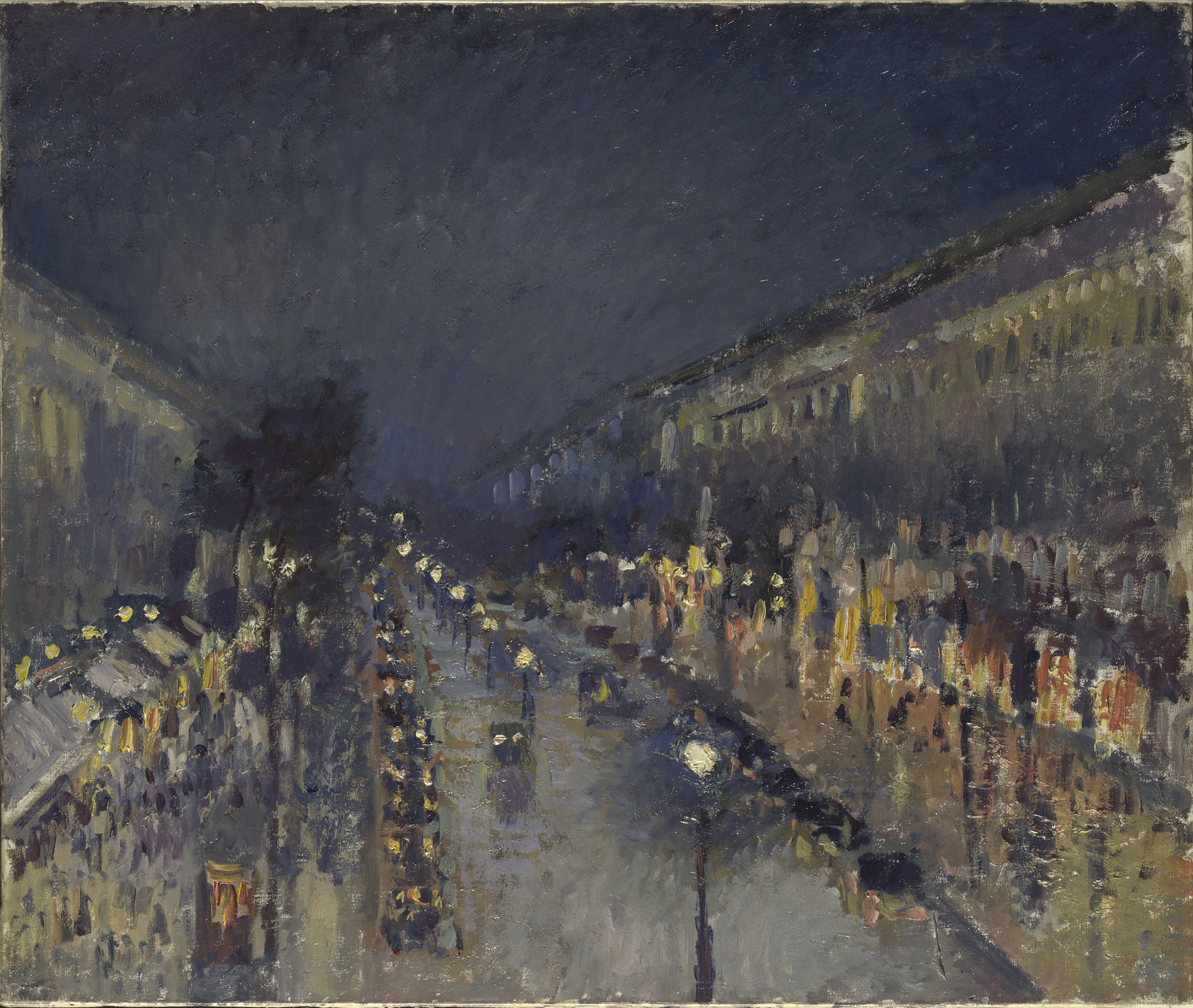 The Boulevard Montmartre at Night - Camille Pissarro, 1897