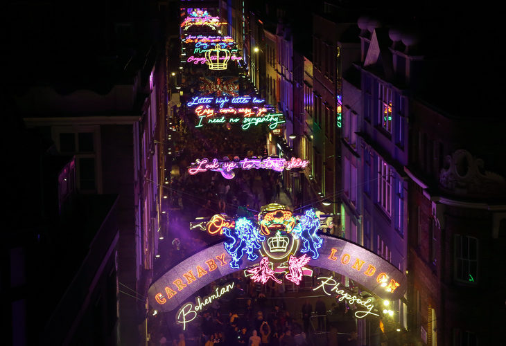 Carnaby Street Unveils Bohemian Rhapsody Christmas Lights