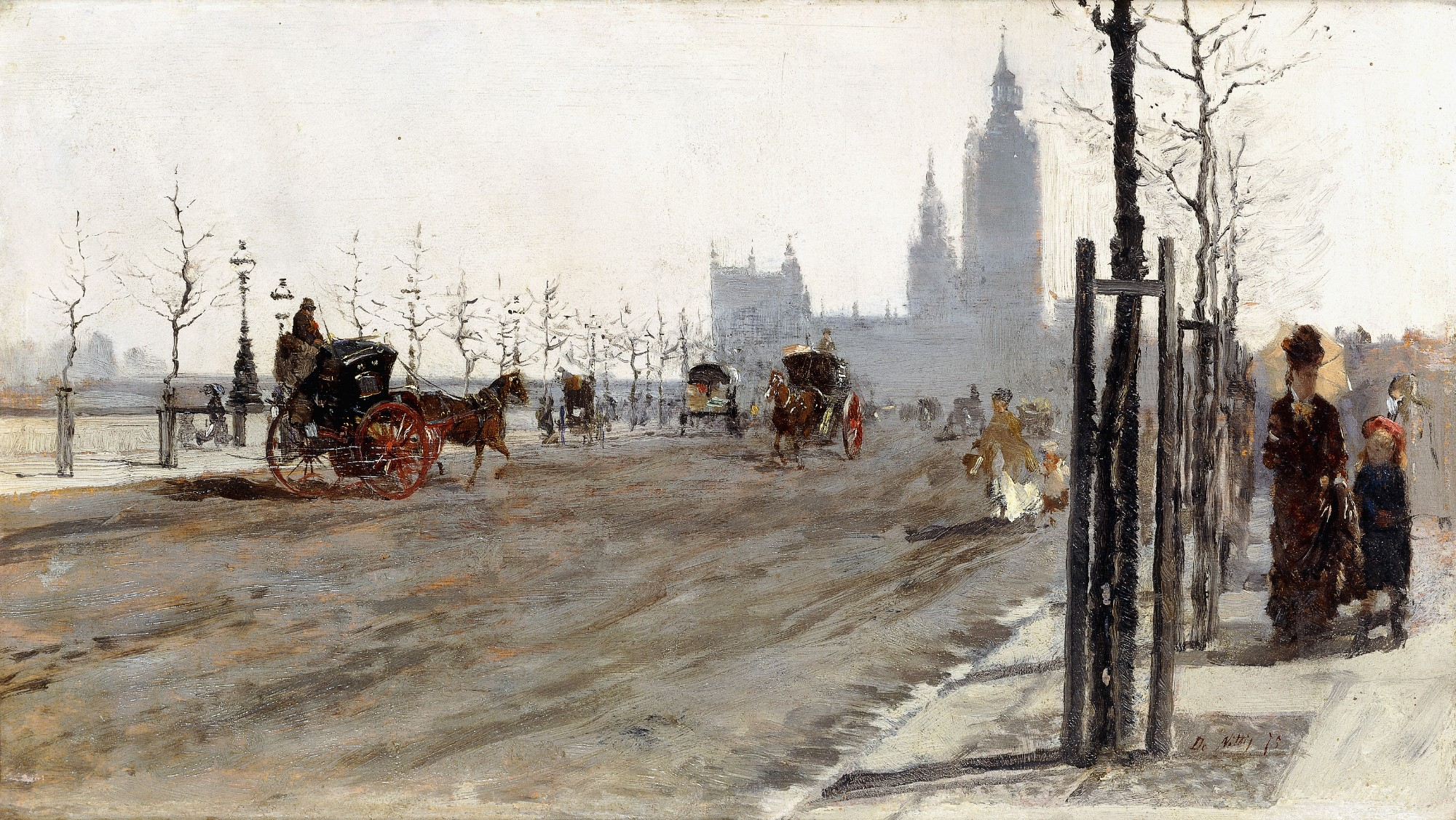 Giuseppe de Nittis (1846 – 1884) - The Victoria Embankment, London, 1875. Private collection