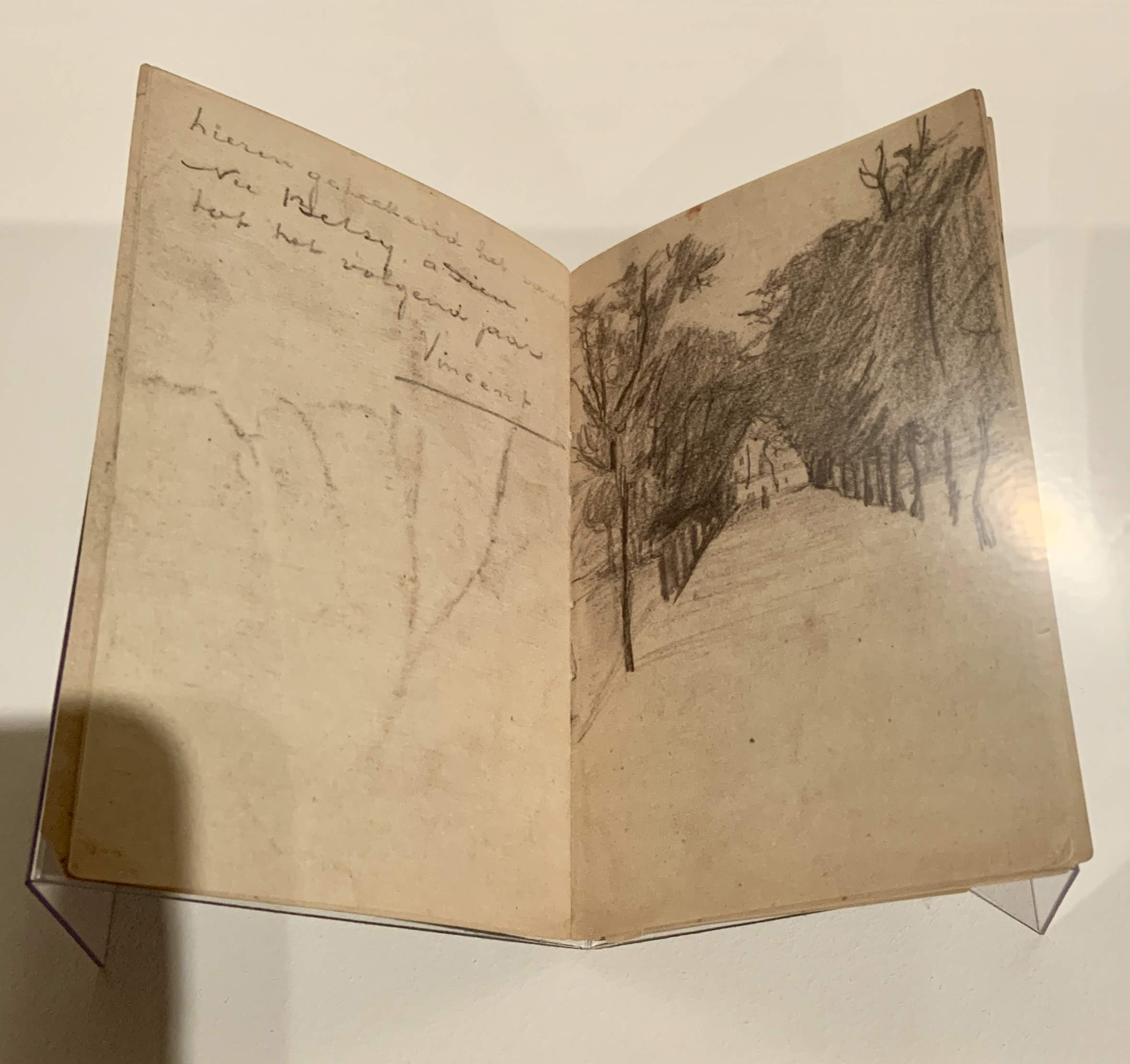 Sketch by Vincent van Gogh. 'Tree-lined avenue' in sketchbook to Betsy Tersteeg, 1875