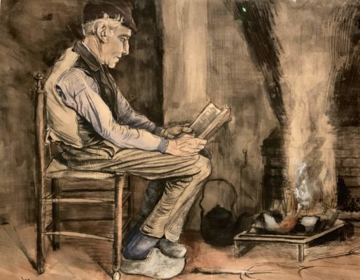 Vincent van Gogh - Man reading at the fireside, 1881