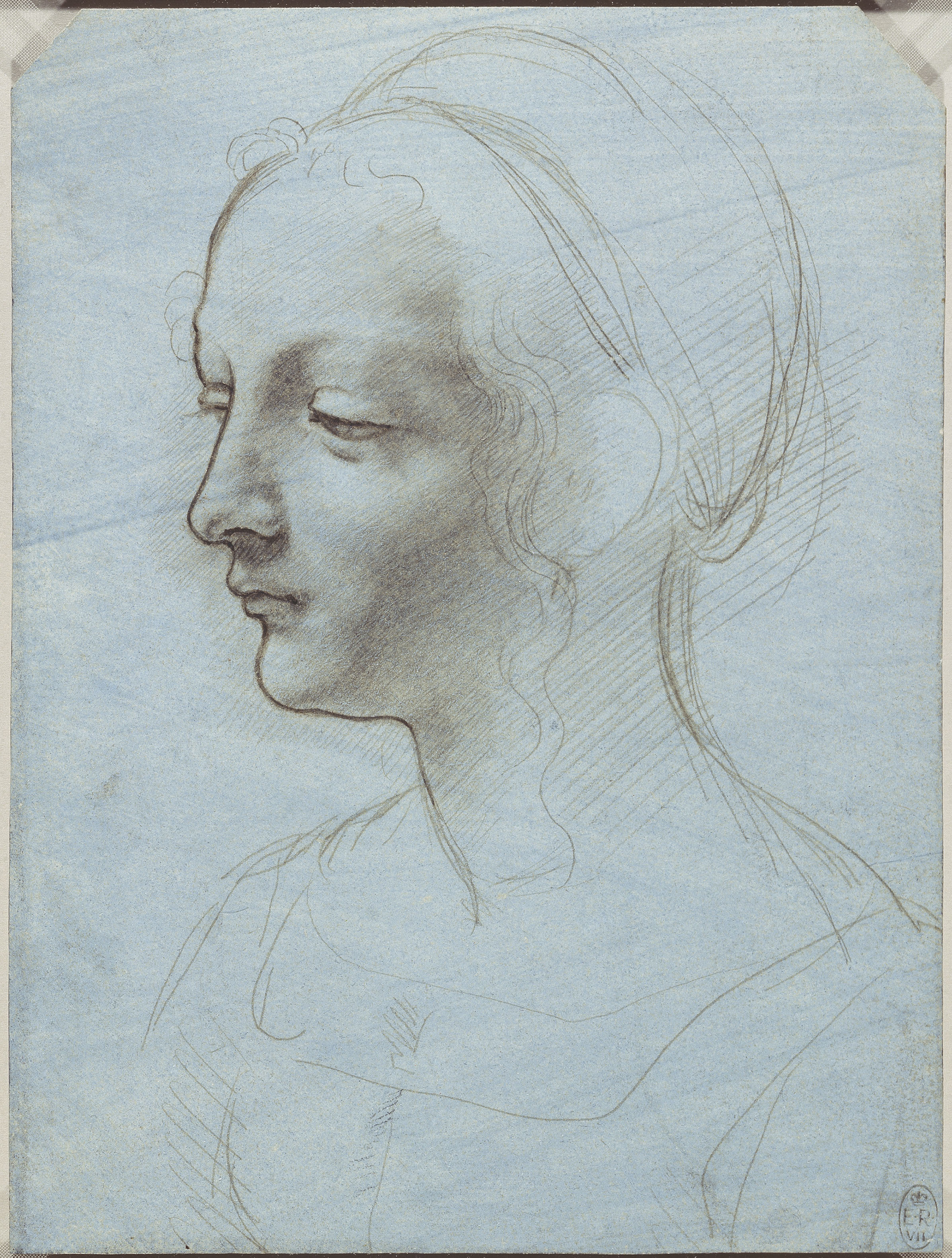Leonardo da Vinci, The head and shoulders of a woman, almost in profile, c.1485-90