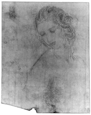 Infared reflectograph of 'Studies for the head of Leda', c.1505-8, showing black chalk underdrawing