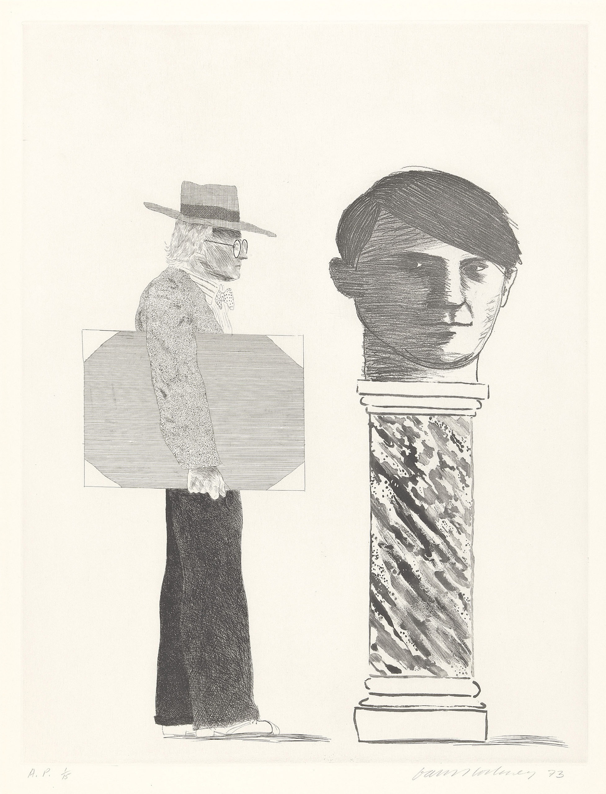 David Hockney - The Student Homage to Picasso, 1973