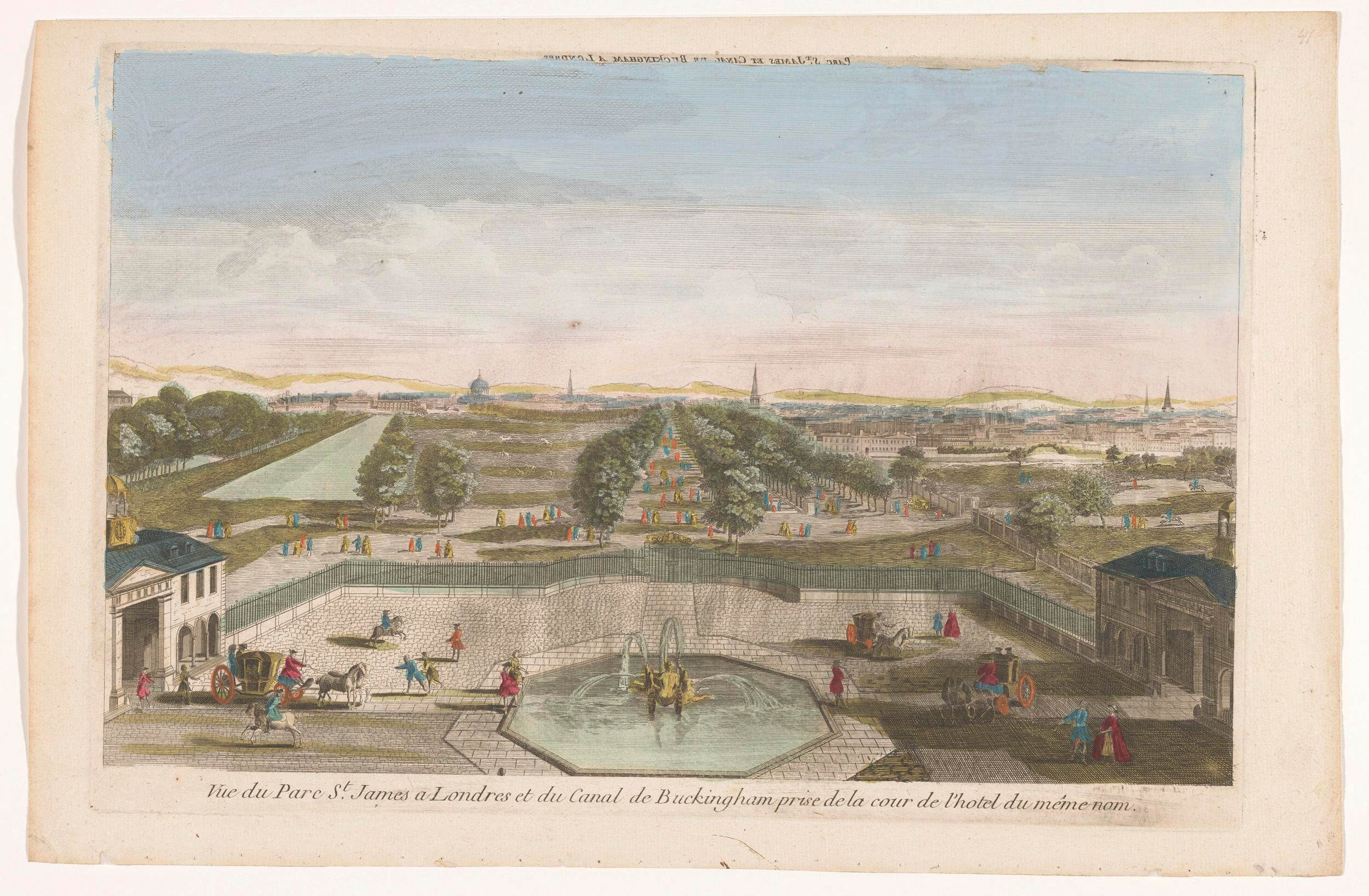 View of Saint James's Park in London seen from Buckingham House. Date: 1700 – 1799.